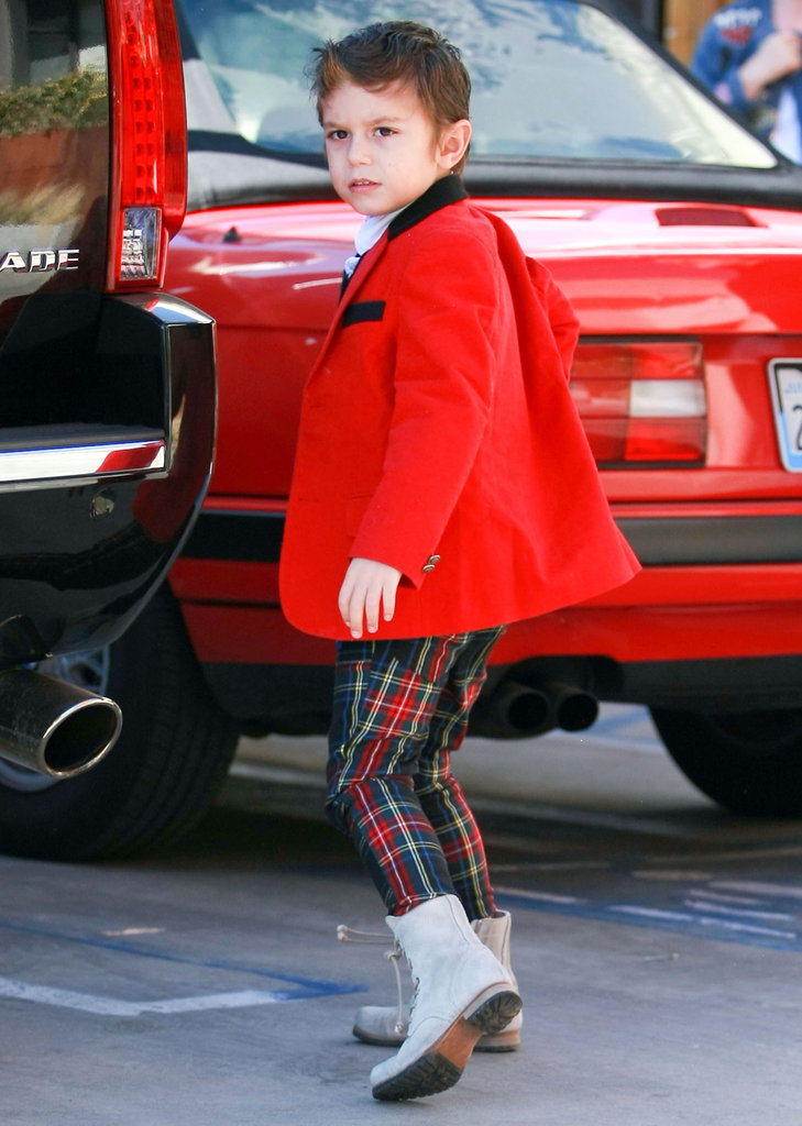 Kingston Rossdale wore lace-up boots.