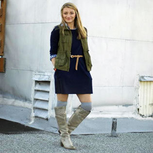 Gray Boots and Dress Layering Street Style
