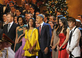 The Obamas are joined by Conan O'Brien, Jennifer Hudson, Victoria Justice, and Justin Bieber for a song at Christmas in Washington.