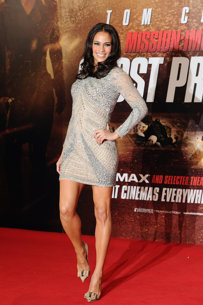 Paula Patton wore a sexy, and sparkly, silver dress to the UK premiere.