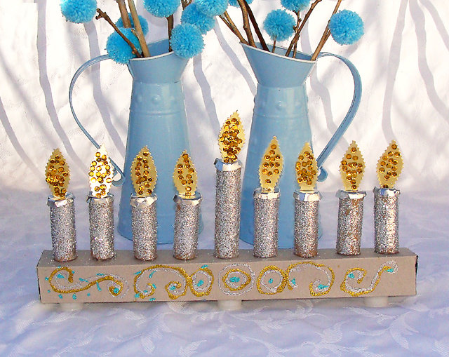 Glittery-Recycled Menorah