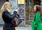 Leighton Meester and Blake Lively on set in NYC.