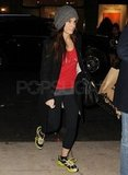 Sandra Bullock wore neon laces in her running shoes.