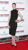 Anne Hathaway hit the red carpet in a mock turtleneck dress.