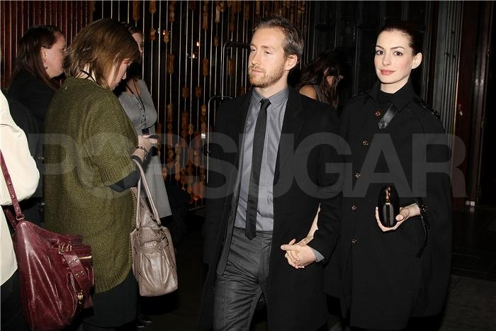 Anne Hathaway and Adam Shulman held hands at The Iron Lady after party.