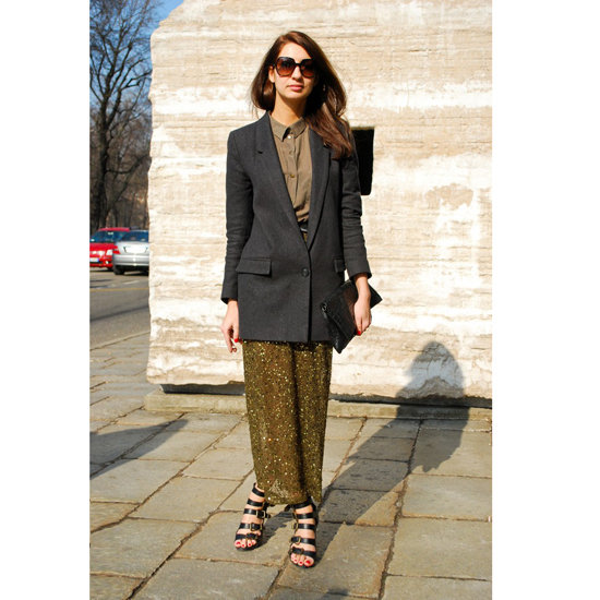 At Spring 2012 Milan Fashion Week, a floaty maxi skirt was grounded with the addition of a boyfriend blazer and prim button-up.  Shop the look:  Photo: Stylesight