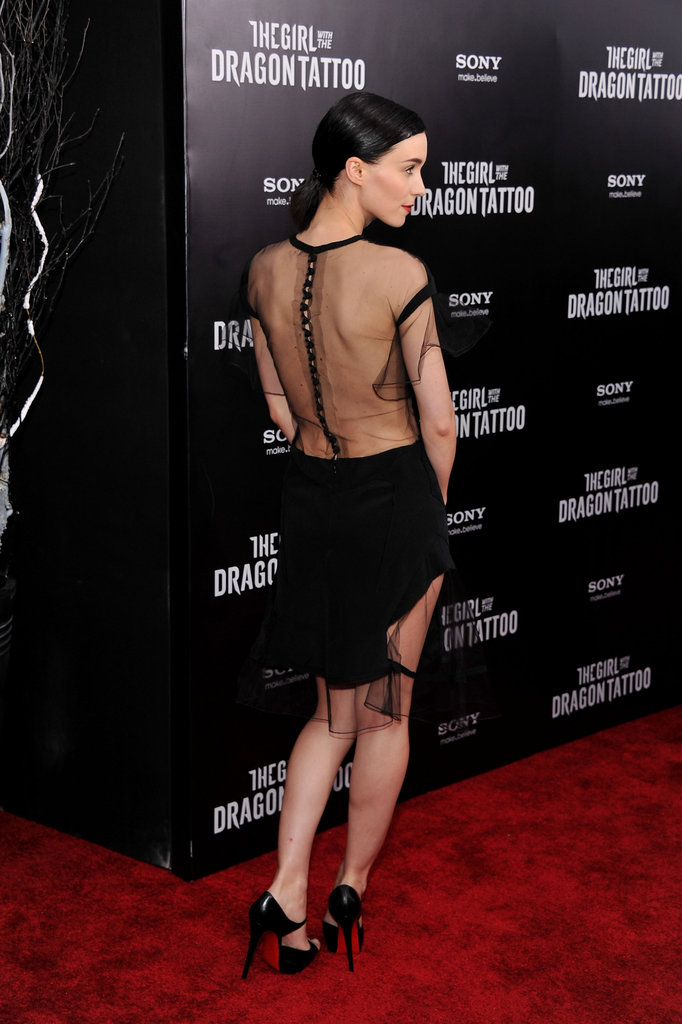Rooney Mara gave a view of her backless dress.