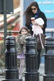 Katie Holmes and Suri Cruise hit the streets of NYC on a blustery day.