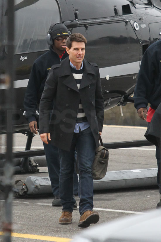 Tom Cruise touched down at a private helipad in NYC.