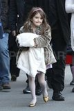 Suri Cruise held onto her blanket in NYC.