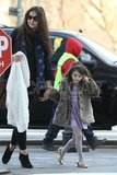 Suri Cruise and Katie Holmes looked both ways while crossing the street in NYC.