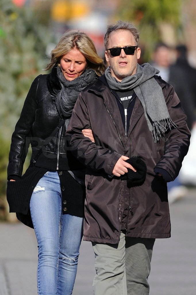Cameron walked with a friend in Manhattan.