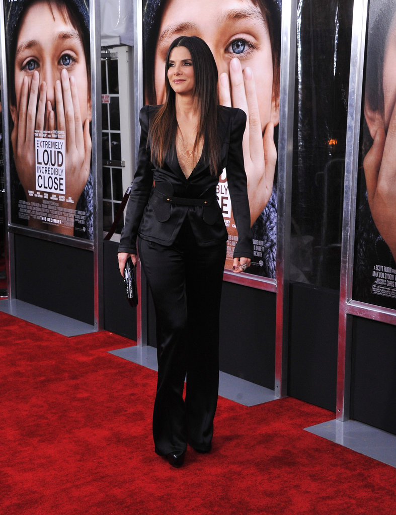 Sandra Bullock on the red carpet at NYC's Ziegfeld Theatre.