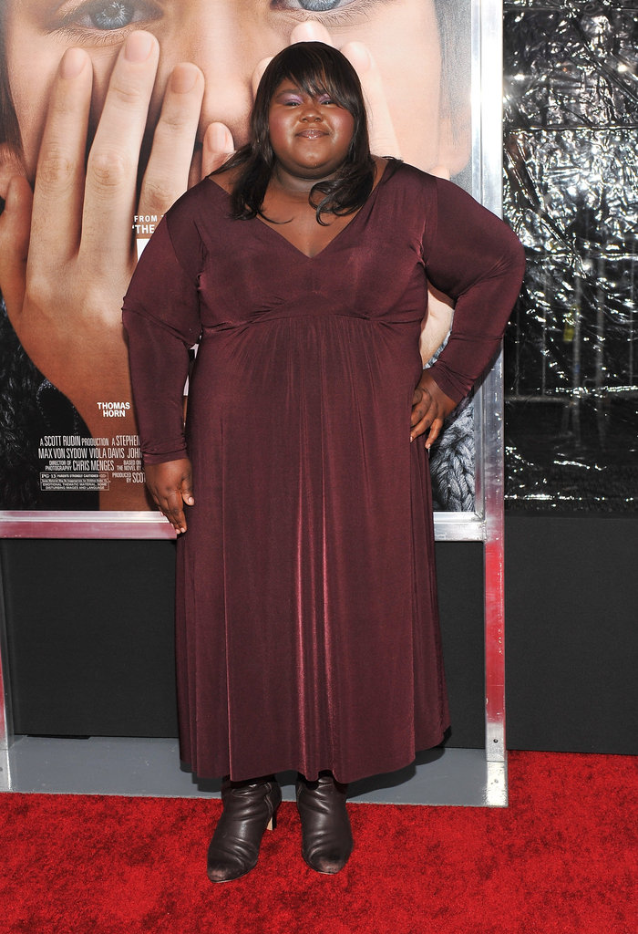 Gabourey Sidibe in a pretty maroon dress at the NYC premiere of Extremely Loud and Incredibly Close.