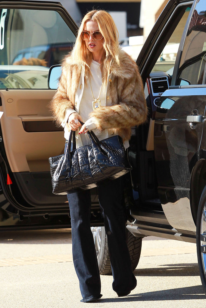Rachel Zoe wore a furry jacket around LA.