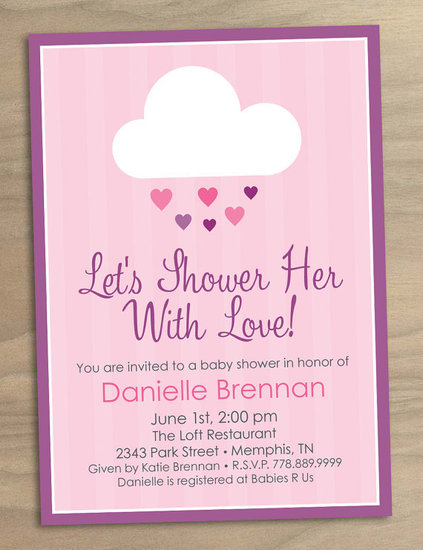 Printable Shower Her with Love Pink Rain Cloud Invitation ($15)