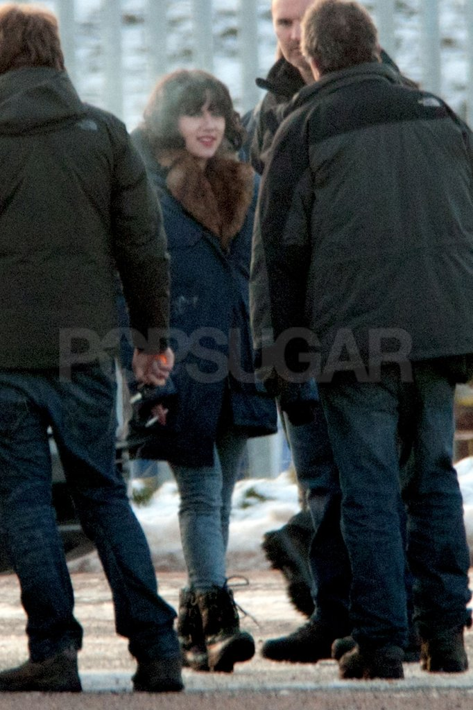 Scarlett Johansson took a break on the set of her new movie in Glasgow.