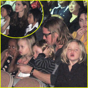 Angelina Jolie and Brad Pitt take their kids to see a performance of Cirque du Soleil's Michael Jackson:The Immortal World Tour