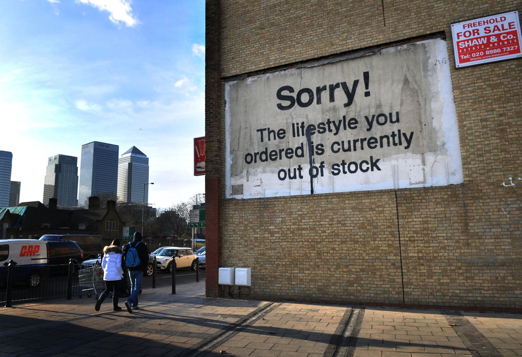 Banksy tells us our lifestyle is out of stock.