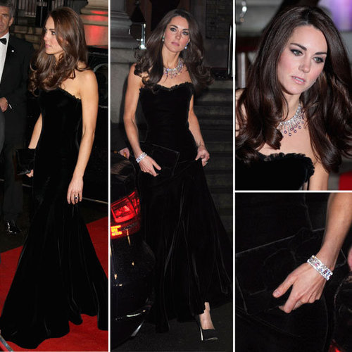 Pictures of Kate Middleton in Sexy Strapless Alexander McQueen Gown and Prince William at the Sun Military Awards in London