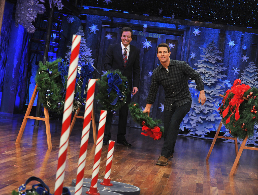 Tom Cruise got ready to toss a wreath on Late Night With Jimmy Fallon.