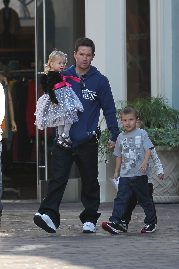 Mark Walhberg with kids Grace, Michael, and Brendan.