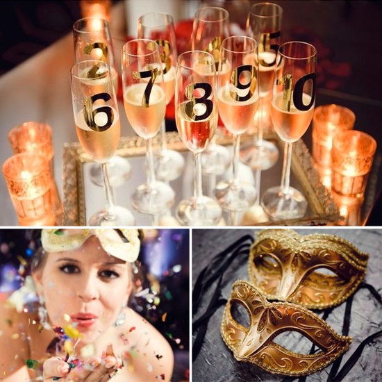 Have numbered champagne glasses for the countdown to the new year and lots of confetti on hand! Photos by Avery House via Style Me Pretty
