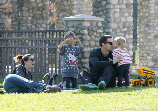 Mark Wahlberg at the park with his family.