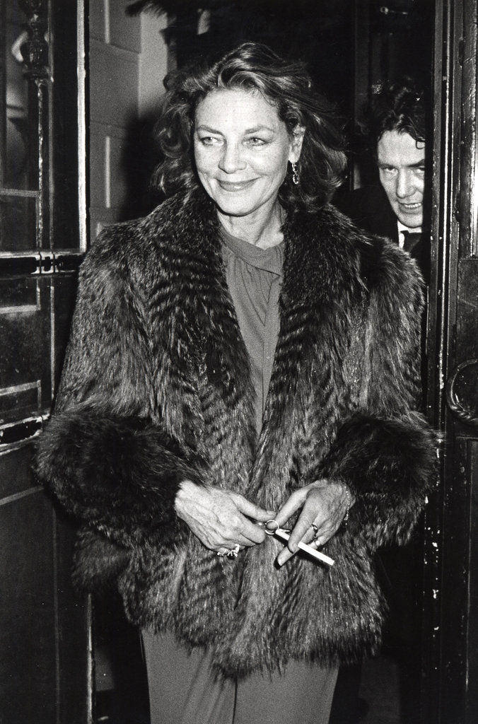 Lauren Bacall looks chic in fur at Woody Allen's NYC New Year's Eve party in 1979.