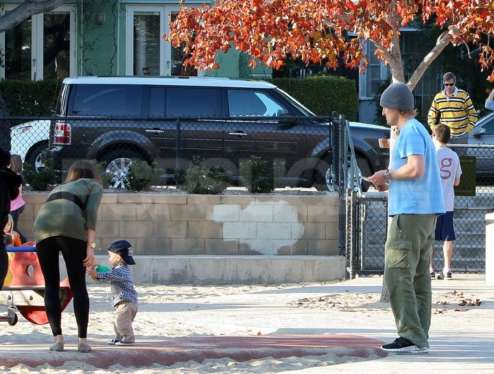 Owen Wilson was happy to watch his 18-month-old son run around.