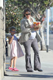 Jennifer Garner carried a tray of Starbucks with Violet Affleck in tow.