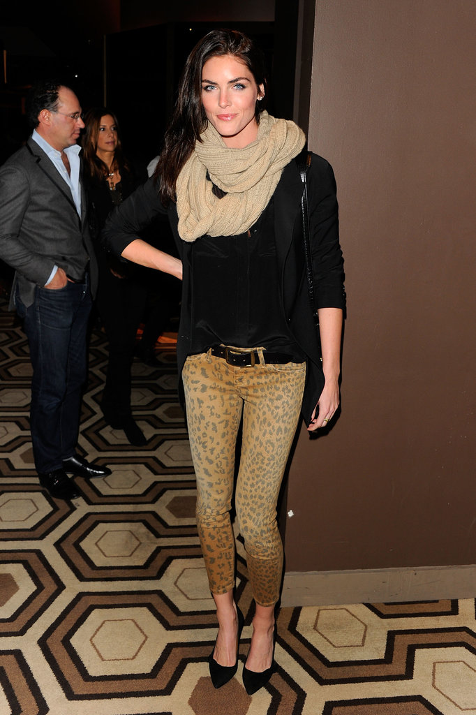 Hilary Rhoda amped up the impact in a pair of leopard-print jeans.