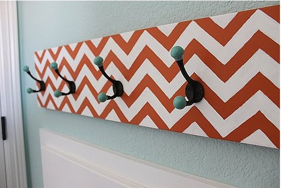 Put some zip in your zag with this chevron coat rack tutorial from The Sweet Survival. Source: The Sweet Survival