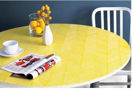 Add herringbone pattern to a ho-hum table with This Old House. Source: This Old House