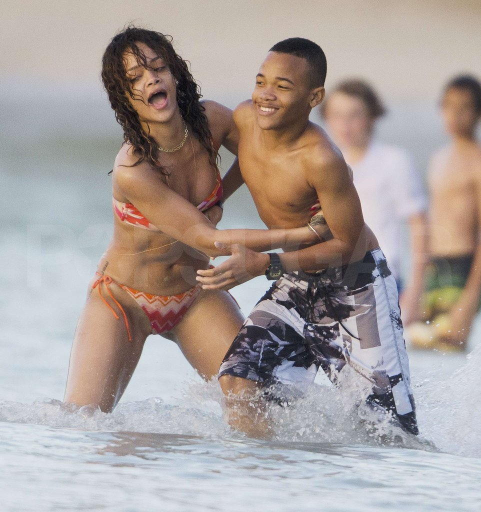 Rihanna's Bikini Body Is on Display During a Playful Barbados Beach Day