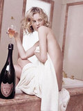 Eva Herzigova strips down to enjoy her Dom Pérignon bubbly in the bath.