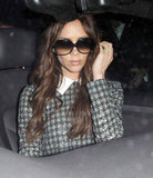 Victoria Beckham wore a sparkly plaid dress.