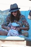 Jessica Alba fastened a hat on Haven Warren.