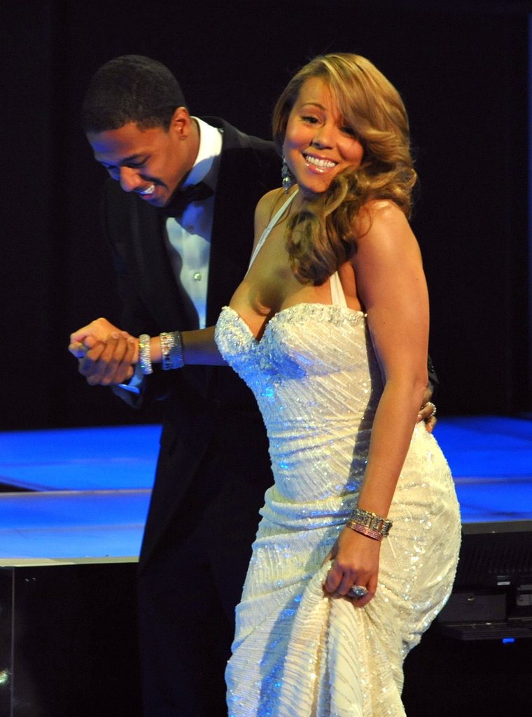 Mariah Carey got some help from husband Nick Cannon during the 2010 show.