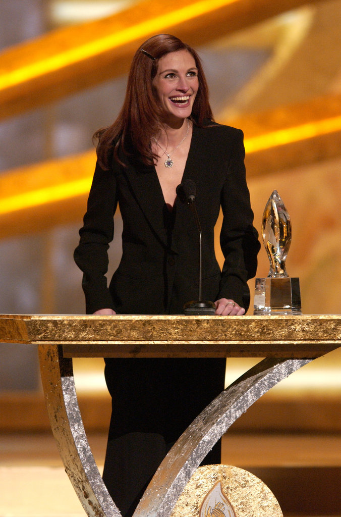 Julia Roberts flashed her famous smile while accepting her award for favorite motion picture actress in 2002.