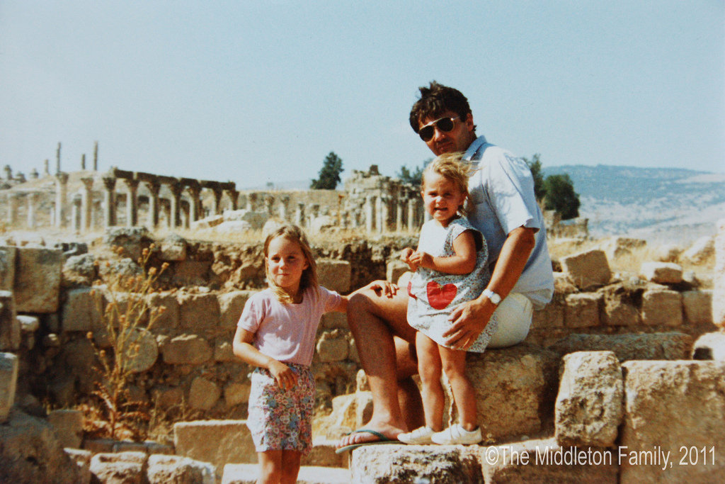 Four-year-old Kate, her father Michael, and younger sister Pippa posed on a family vacation in Jerash, Jordan.   © The Middleton Family, 2011. All rights reserved.
