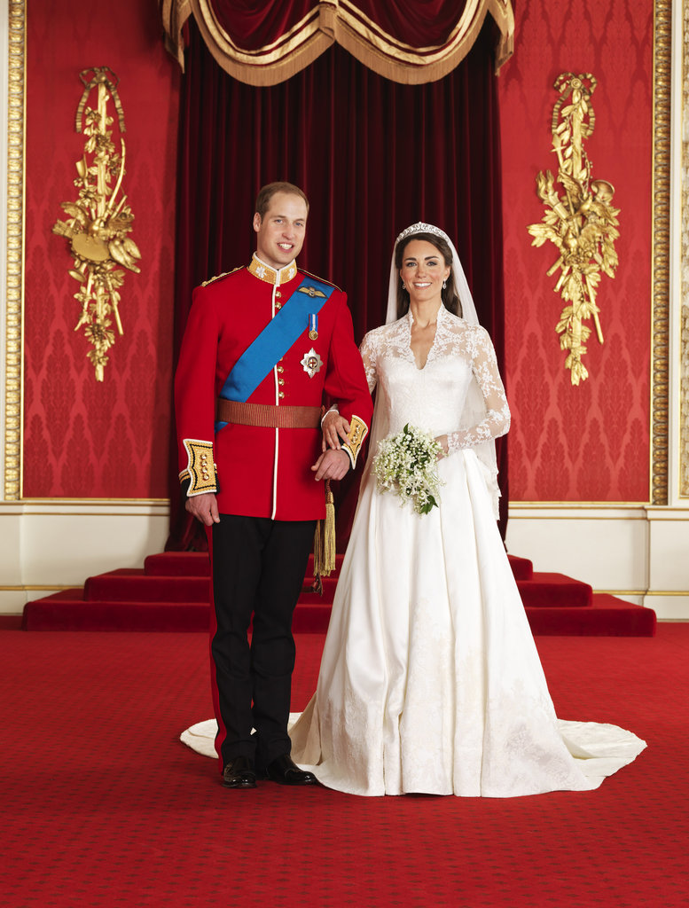 Prince William and Kate Middleton posed for an official wedding portrait by photographer Hugo Burnand in April 2011.