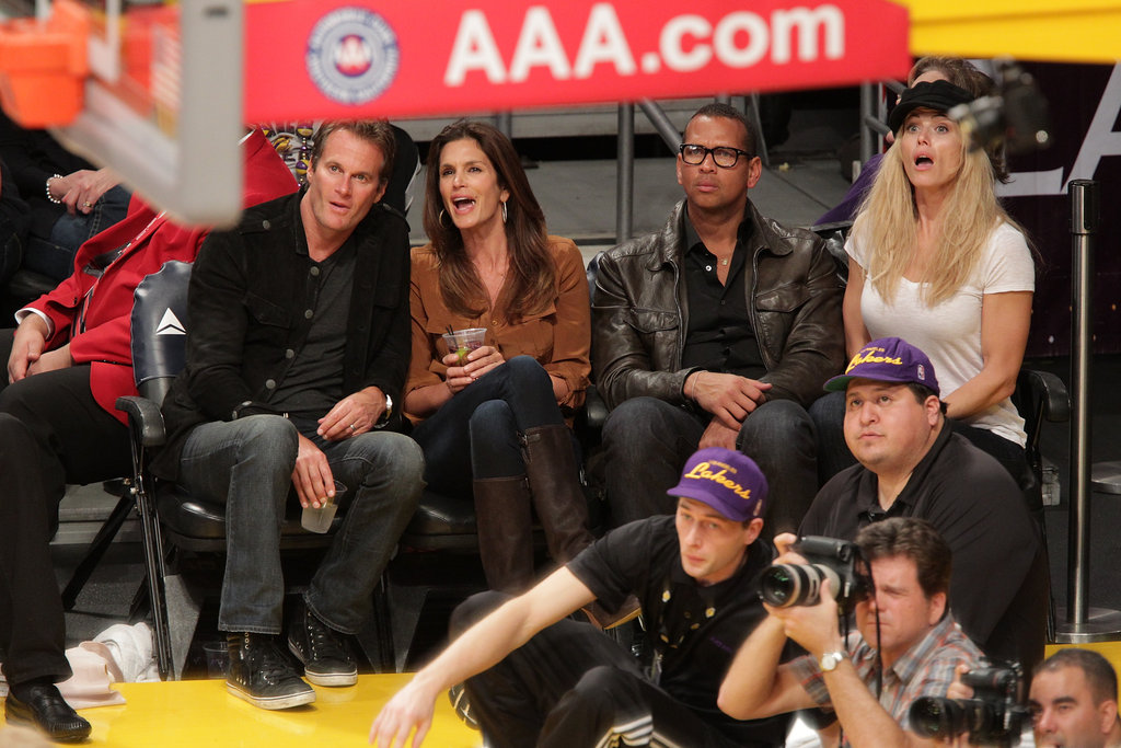 Ashton Returns Home For a Lakers Game With Cindy, Rande, and a Loved-Up ARod