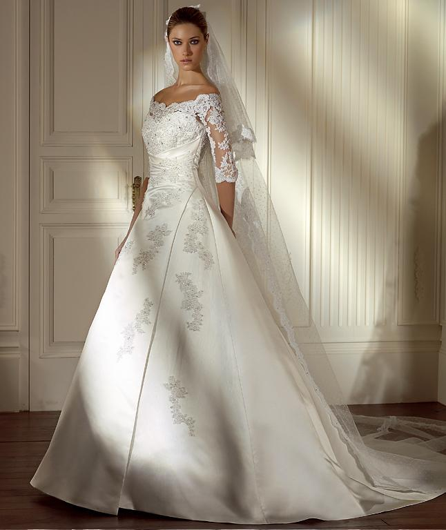 wedding dresses with long sleeves trains prices