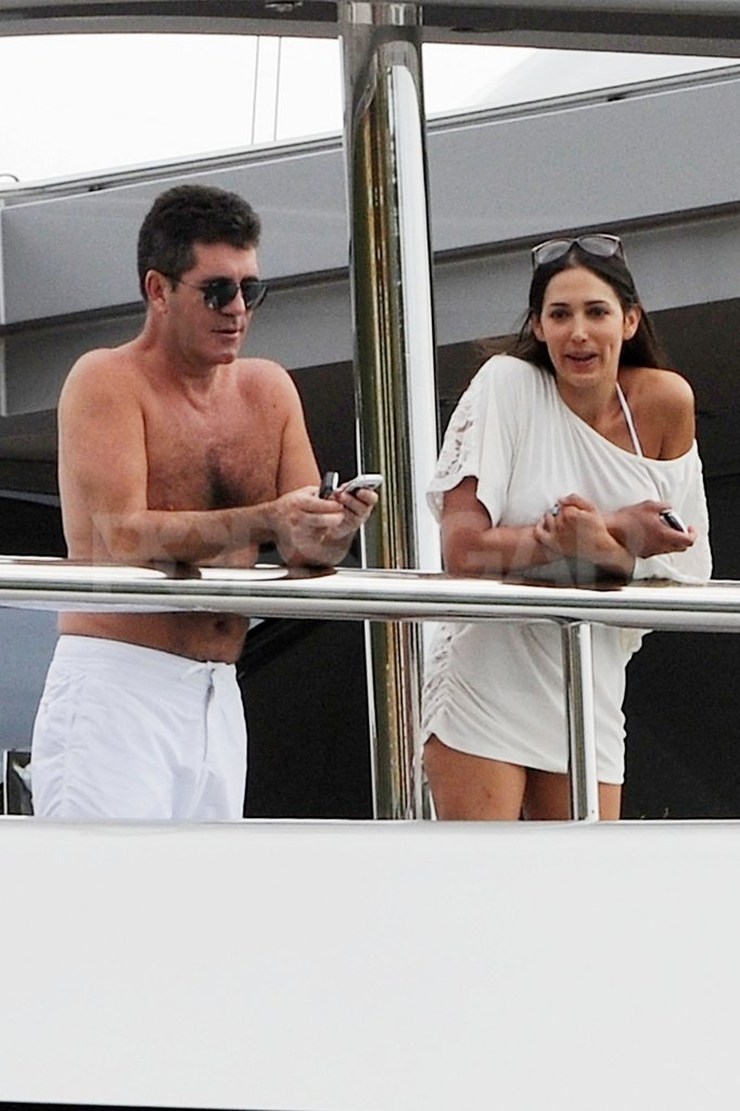 Simon Cowell and was with a friend on his yacht in St. Barts.