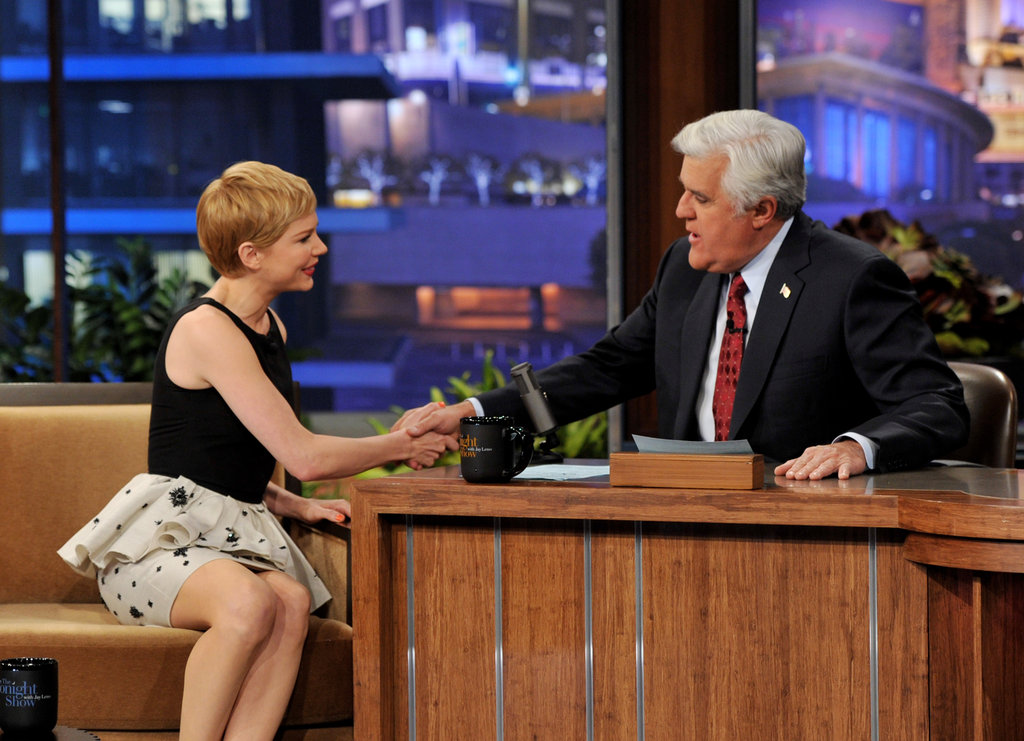 Michelle Williams shook Jay Leno's hand.
