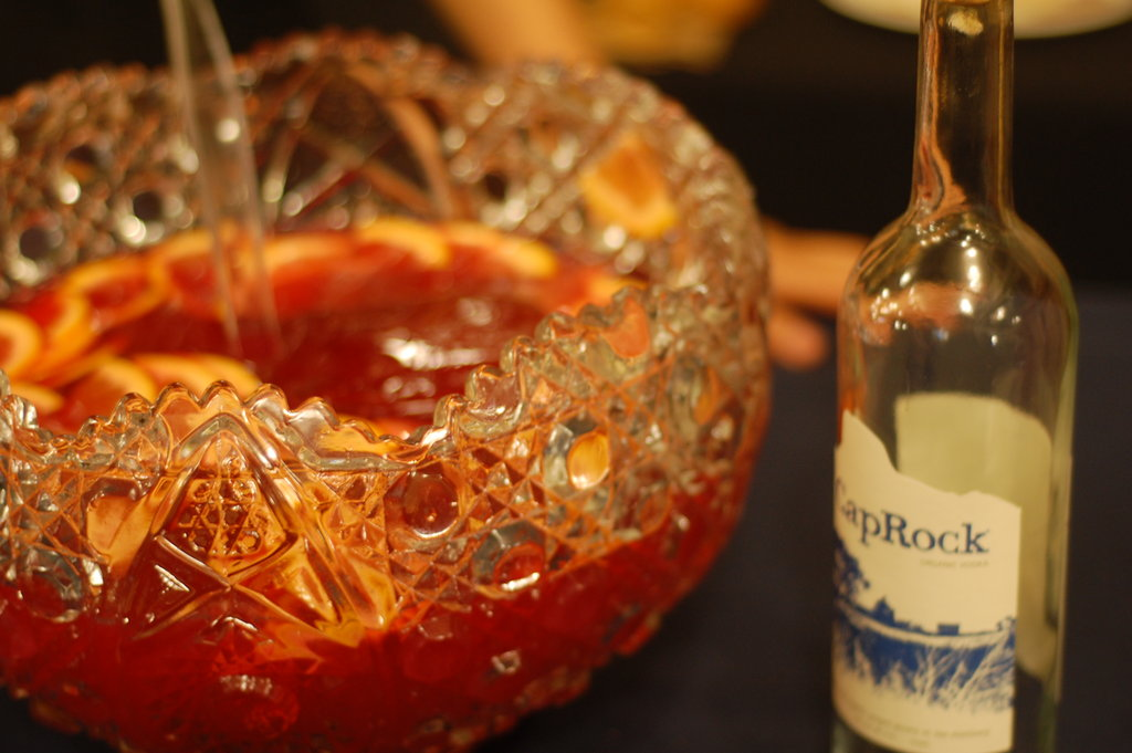 A bowl of punch made with CapRock Organic Vodka from Peak Spirits of Colorado.