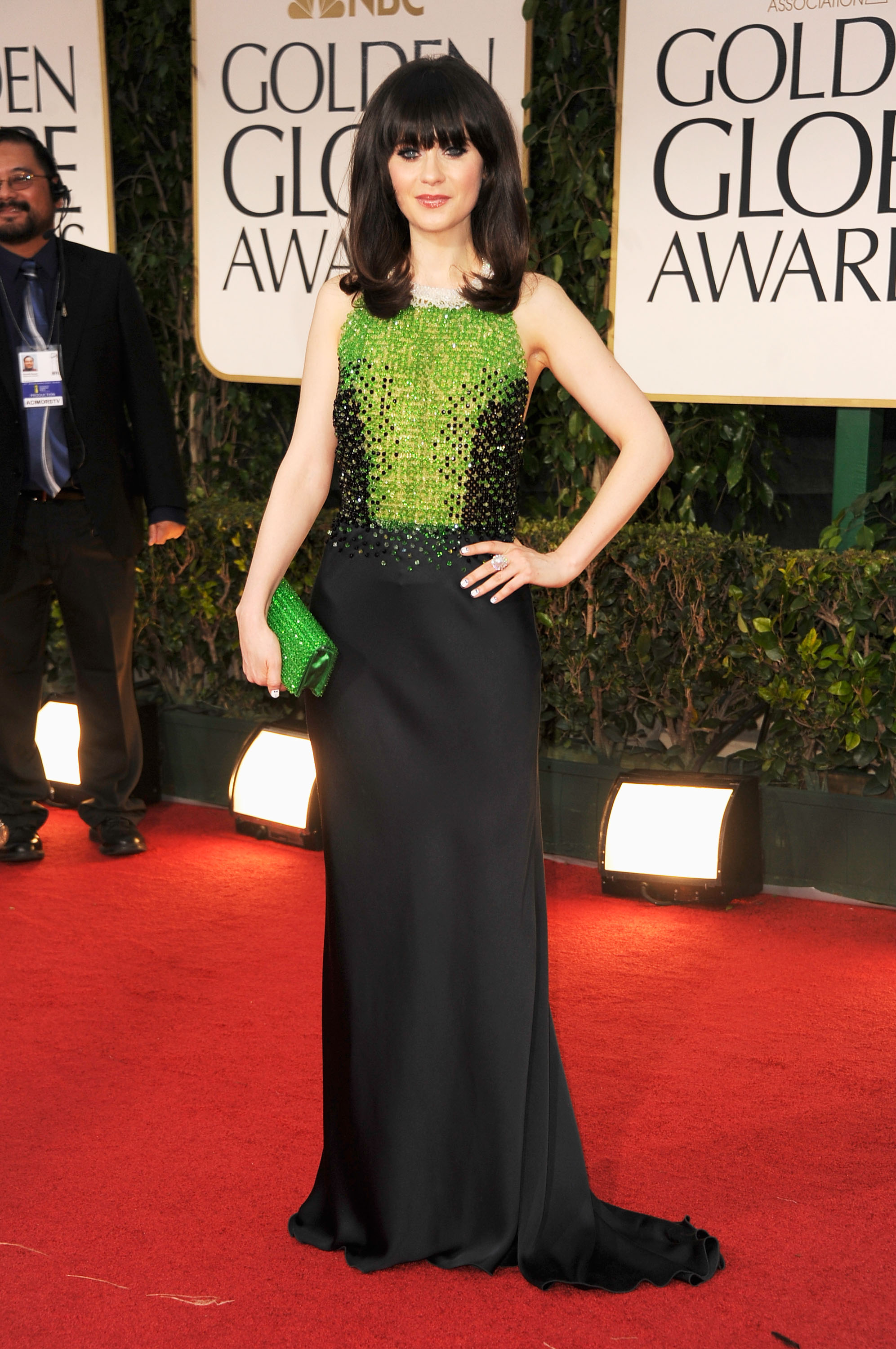 Zooey Deschanel in Prada.