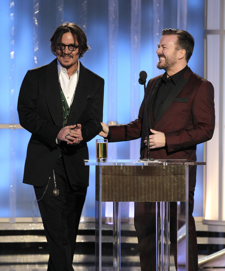 Ricky Gervais and Johnny Depp shared the stage.