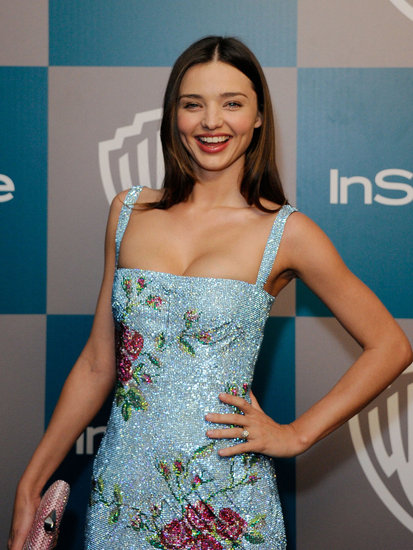 Miranda Kerr laughed on the red carpet at InStyle's Golden Globes afterparty.